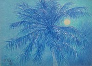 Moonlit Pastels - Palms at Night by Pierre Lamare