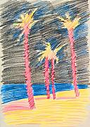 Dramatic Mixed Media Originals - Palms at the night by Vitali Komarov