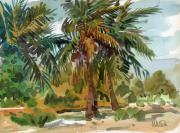 Plein-air Posters - Palms in Key West Poster by Donald Maier