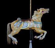 Palomino Carousel Horse Print by Cindy Lee Longhini