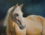 Horse Portrait Framed Prints - Palomino on blue Framed Print by Mary Leslie