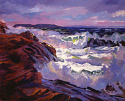 Rocky Shoreline Paintings - Palos Verdes Beach by David Lloyd Glover