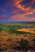 Wheatfields Photo Prints - Palouse Skies Ablaze Print by Mike  Dawson