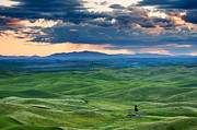 Green  Prints - Palouse Storm Print by Mike  Dawson