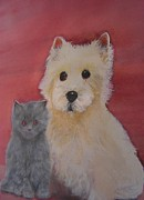Westie Pup Framed Prints - Pals Westie and Kitten Framed Print by Pamela Morris