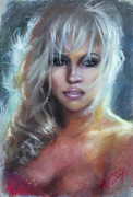 Stars Pastels Posters - Pamela Anderson Poster by Ylli Haruni