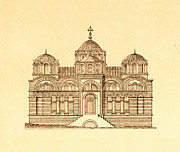 Byzantine Drawings Prints - Pammakaristos Byzantine Church in Constantinople  Print by Pictus Orbis Collection
