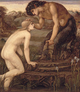 Mythological Metal Prints - Pan and Psyche Metal Print by Sir Edward Burne-Jones