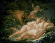Putti Paintings - Pan and Syrinx by Francois Boucher