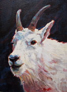 Mountain Goat Painting Prints - Pan Print by Patricia A Griffin