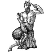 Tie Drawings Prints - Pan Satyr with Tie Print by Karl Addison