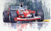 Red Prints - Panasonic Toyota TF102 F1 2002 Mika Salo Print by Yuriy  Shevchuk