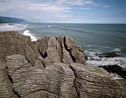 Pancake Prints - Pancake Rocks, South Island, New Zealand Print by Michael Marten