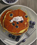 Oil. . Realism. Paintings - Pancakes and Blueberries by Vic Vicini