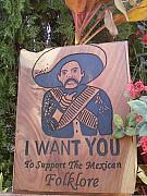 Wood Engraving Reliefs - Pancho villa by Calixto Gonzalez