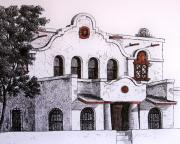 Old Building Drawings - Pancho Villa Met Here by Candy Mayer