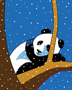 Fun Digital Art Posters - Panda at Peace Poster by Ron Magnes