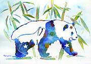 Blue Panda Framed Prints - Panda Bear with Stars in Blue Framed Print by Jo Lynch
