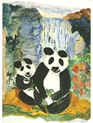 Panda Bears At The Waterfalls Print by Thelma Harcum