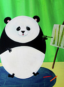 Youthful Painting Metal Prints - Panda Drawing Bamboo Metal Print by Lael Borduin