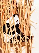 Panda Mixed Media - Panda in Bamboo by Linda Crockett