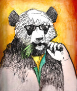 Panda Mixed Media - Panda Man by Paul  Van Atta