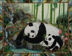 Textile Tapestries - Textiles Originals - Panda Perfect by Kathy McNeil
