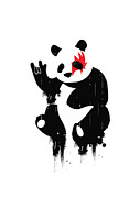 Black Digital Art Prints - Panda Rocks Print by Budi Satria Kwan