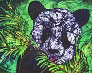 White Tapestries - Textiles Prints - Panda Snack Print by Kay Shaffer