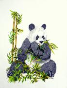Brown Drawings - Panda  by Terri Mills