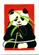 Fauna Painting Metal Prints - Panda with Bamboo Metal Print by Terry Taylor