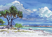 Lauhala Framed Prints - Pandanus Lagoon Framed Print by Michele Ross