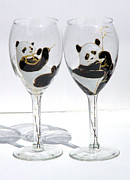 Painted Wine Glass Glass Art - Pandas on glass by Pauline Ross
