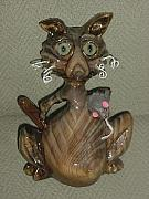 Still Life Sculptures - Pandora-Cat-Atude Series-SOLD by Lisa Ruggiero