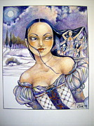 Moon Fairies Blue Snow Woman Drawings Posters - Pandora Poster by Jackie Rock