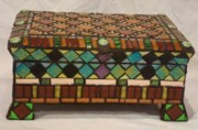Jewelry Glass Art - Pandoras Jewel Chest by Robin Miklatek