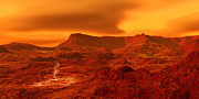 Temperature Digital Art Framed Prints - Panorama Of A Landscape On Venus At 700 Framed Print by Ron Miller