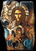 Icon Byzantine Mixed Media Posters - Panorama Of Redemption Poster by Iosif Ioan Chezan