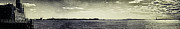 Antiquated Prints - Panorama of Statue of Liberty and Pier A over Hudson - Antique colors Print by Alex AG
