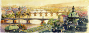 Vltava River Paintings - Panorama Prague Briges by Yuriy  Shevchuk