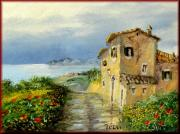 Italian White Poppy Paintings - Panorama Tuscany by Luciano Torsi