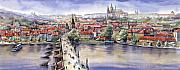 Watercolour Prints - Panorama with Vltava river Charles Bridge and Prague Castle St Vit Print by Yuriy  Shevchuk