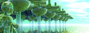 Modular Digital Art Prints - Panoramic Green City and Alien or Future Human Print by Nicholas Burningham