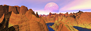 Panoramic Digital Art - Panoramic Landscape Of Red Ridgesdigitally Genera by Raj Kamal
