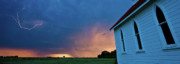 Lightning Strike Digital Art Framed Prints - Panoramic Lightning Storm and church Framed Print by Mark Duffy