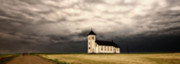 Storm Digital Art - Panoramic Lightning Storm and Prairie Church by Mark Duffy