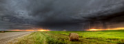 Lightning Strike Digital Art Framed Prints - Panoramic Lightning Storm in the Prairies Framed Print by Mark Duffy
