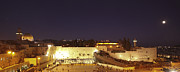 Mideast Framed Prints - Panoramic night view of the Wailing Wall  Framed Print by Alon Meir