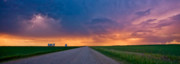 Storm Digital Art Prints - Panoramic Prairie Lightning Storm Print by Mark Duffy