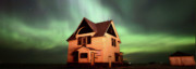 Phenomenon Digital Art - Panoramic Prairie Northern Lights and House by Mark Duffy